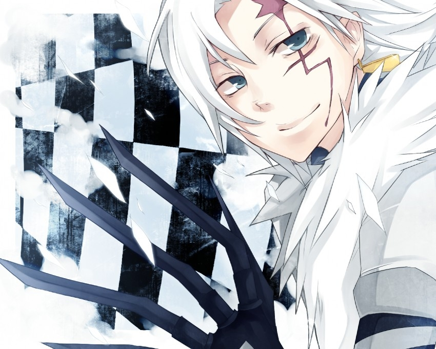 Scar, Smile, D.Gray-man, Allen Walker, Guy, White hair, Blue Eyes, Claws, Feathers