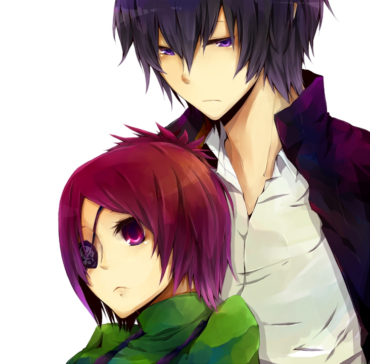 Hibari Kyoya, School Uniform, Chrome Dokuro, Coat, Sad, Duo, Eyepatch, Female, Frown, Leaning Against Each Other, Looking Down, Male, Purple Eyes, Shirt, Short Hair, Uniform, Vongola Family, Katekyo Hitman Reborn!