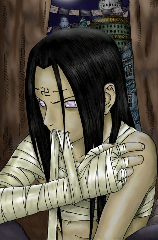 Neji Hyuuga, Almost Shirtless, Masashi Kishimoto, Male, Solo, Purple Eyes, Bandages, Naruto