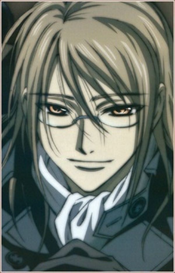 Smile, Kaien Cross, Glasses, Male, Ponytail, Solo, Gold Eyes, Vampire Knight