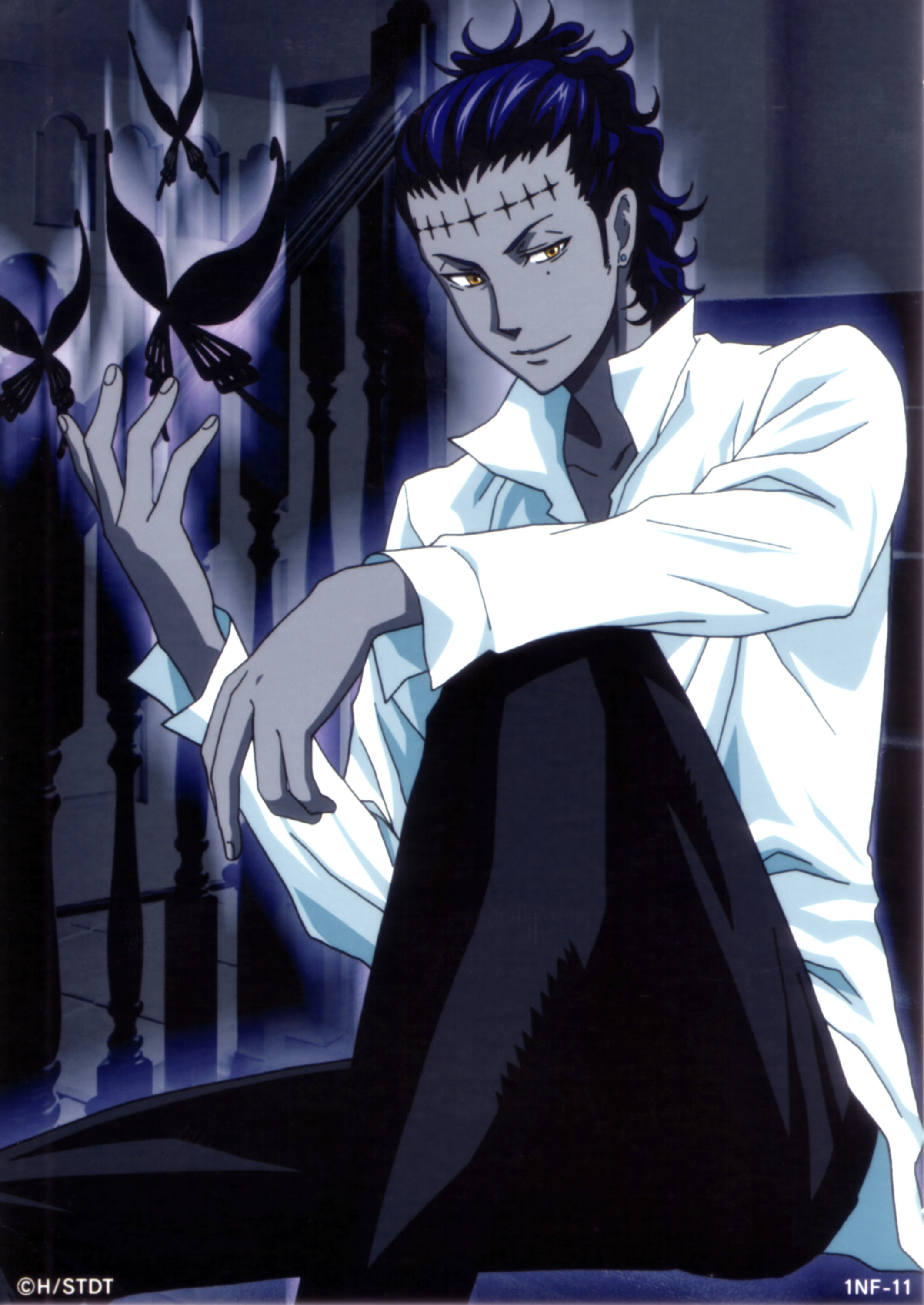 Gray Skin, Tyki Mikk, Male, Gold Eyes, Blue Hair, Short Hair, D.Gray-man