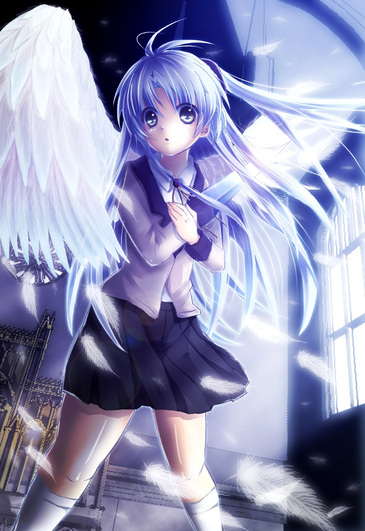 Kanade Tachibana, School Uniform, Wings, Kanade Tachibana, Female, White hair, Blue Hair, Blue Eyes, Open Mouth, Uniform, Solo, Skirt, Feather, Ponytail, Angel Beats!