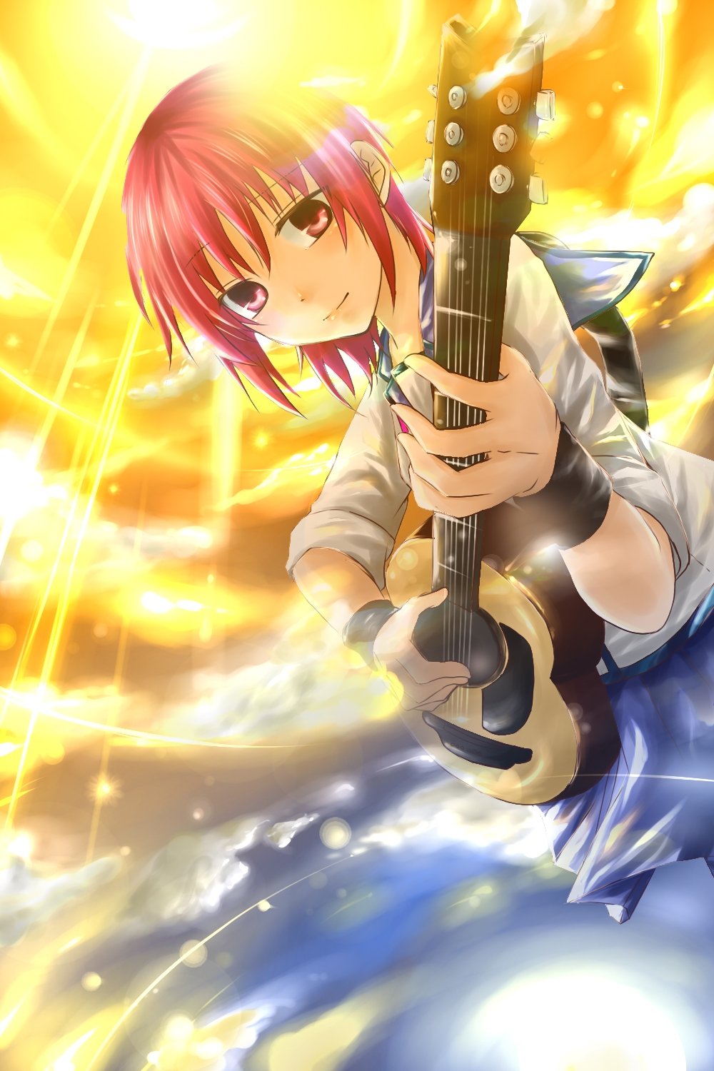 Smile, Iwasawa, Female, Guitar, Musical Instrument, Solo, Pink Hair, Short Hair, Pink Eyes, Sunbeam, Angel Beats!