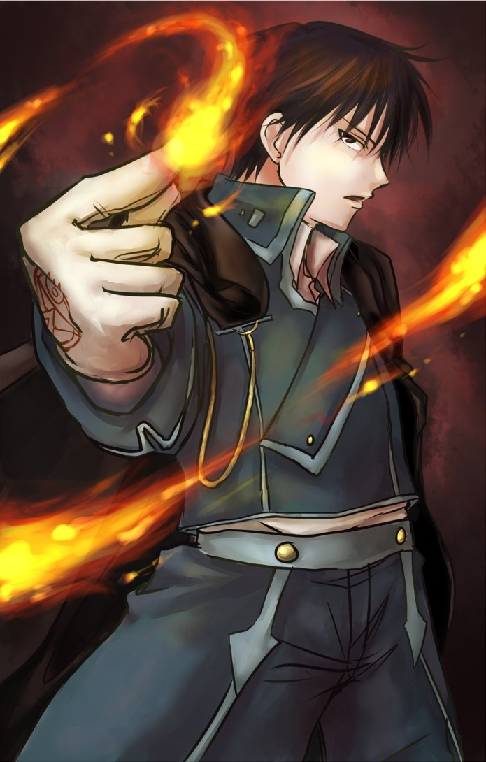 Square Enix, Gloves, Roy Mustang, Short Hair, Male, Solo, Fire, Military Uniform, Uniform, Red Eyes, Open Mouth, Side View, Fullmetal Alchemist