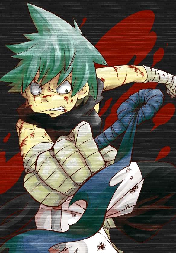 Black Star, Bandages, Blood, Blue Eyes, Green Hair, Male, Short Hair, Solo, Spiky Hair, Tattoo, Weapons, Soul Eater