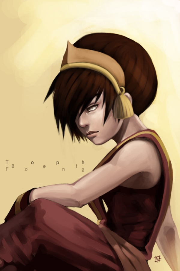 Avatar: The Last Airbender, Toph Bei Fong, Short Hair, Female, Sitting, Solo