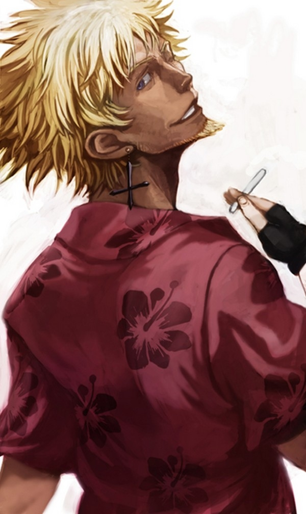 Meme Oshino, Smile, Cigarette, Smoking, Solo, Blonde Hair, Short Hair, Male, Back, Earrings, Jewelry, Cross, Looking Back, Bakemonogatari