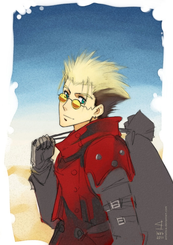 Vash the Stampede, Blonde Hair, Short Hair, Male, Spiky Hair, Green Eyes, Glasses, Trigun