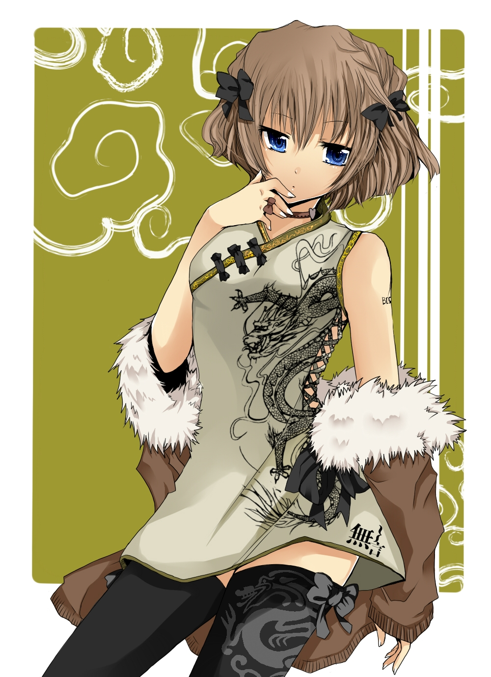 Ai Haibara, Blue Eyes, Short Hair, Chinese Clothes, Dress, Female, Thigh Highs, Traditional Clothes, Detective Conan