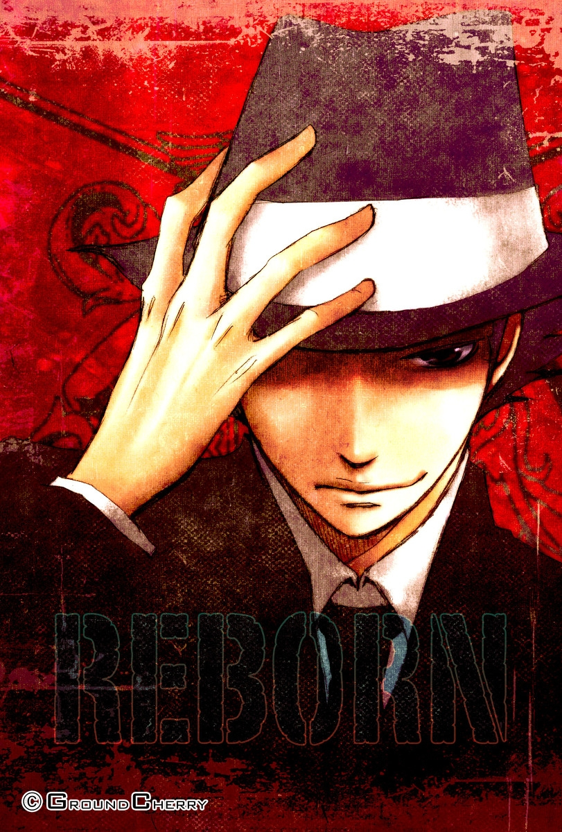 Smile, Black Eyes, Male, Hat, Short Hair, Smirk, Solo, Katekyo Hitman Reborn!, Reborn