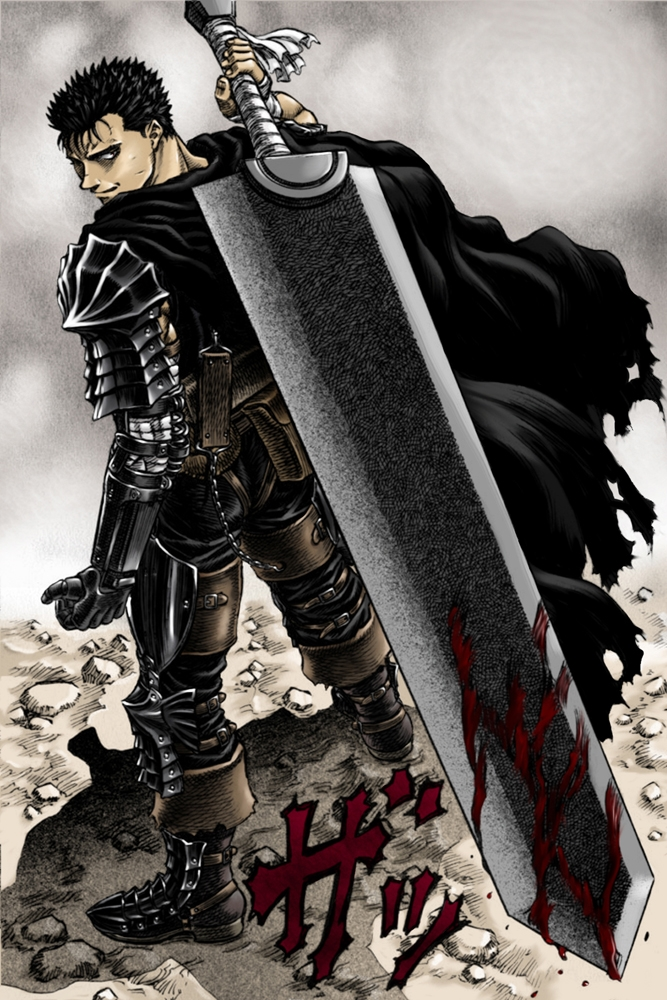 Guts, Male, Short Hair, Looking Back, Back, Blood, Cape, Sword, Weapons, Hero Pose, Berserk