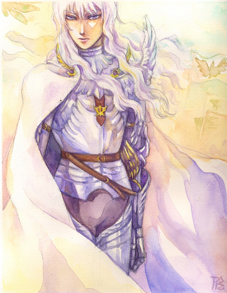 Griffith, Armor, Male, White hair, Solo, Berserk
