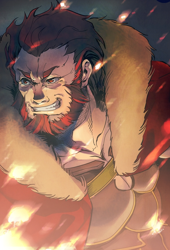 Type-moon, Solo, Male, Red Eyes, Beard, Grin, Fate/zero, Rider