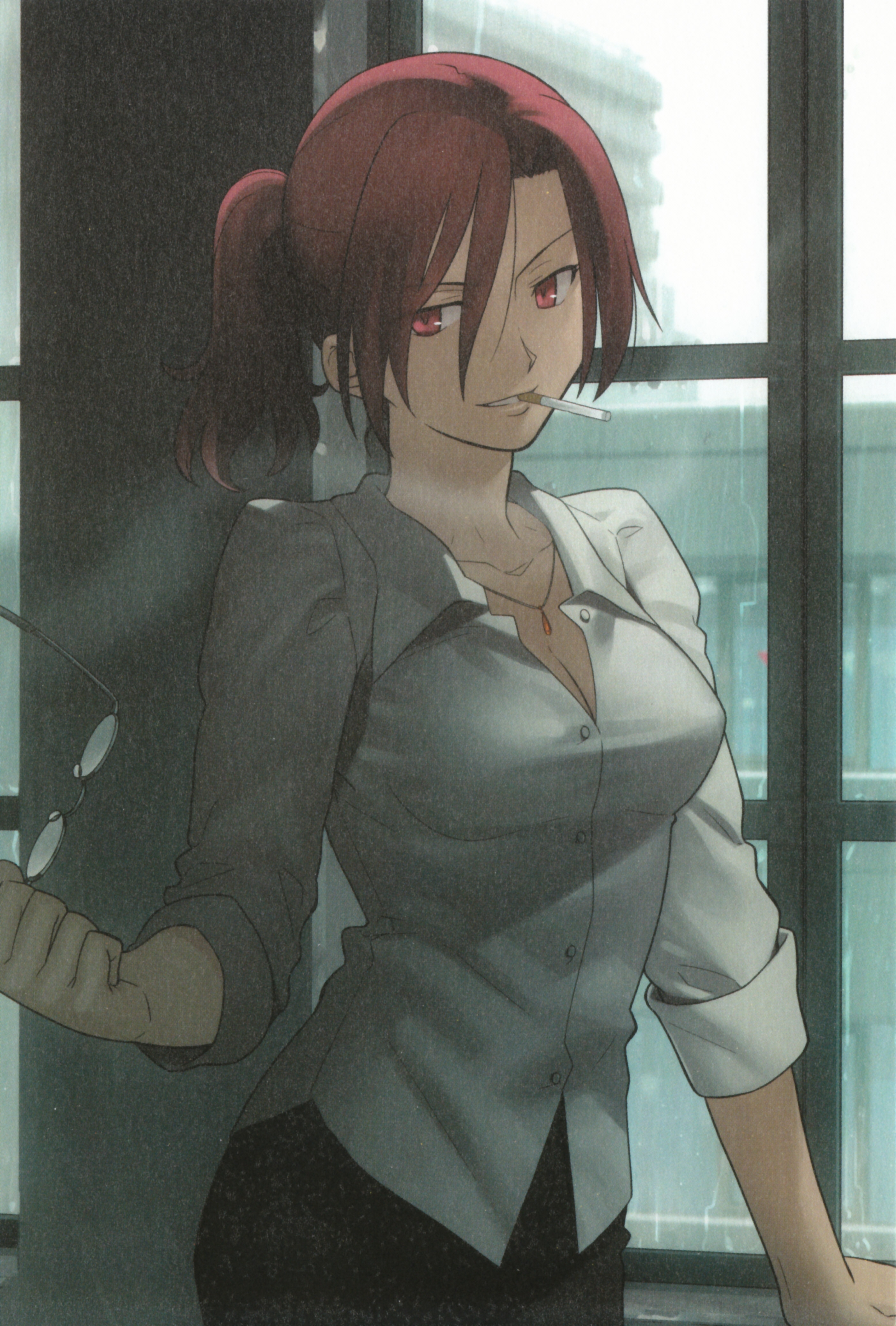 Aozaki Touko, Takashi Takeuchi, Type-moon, The Garden of Sinners, Takashi Takeuchi, Female, Glasses, Red Hair, Smoking, Solo, Window