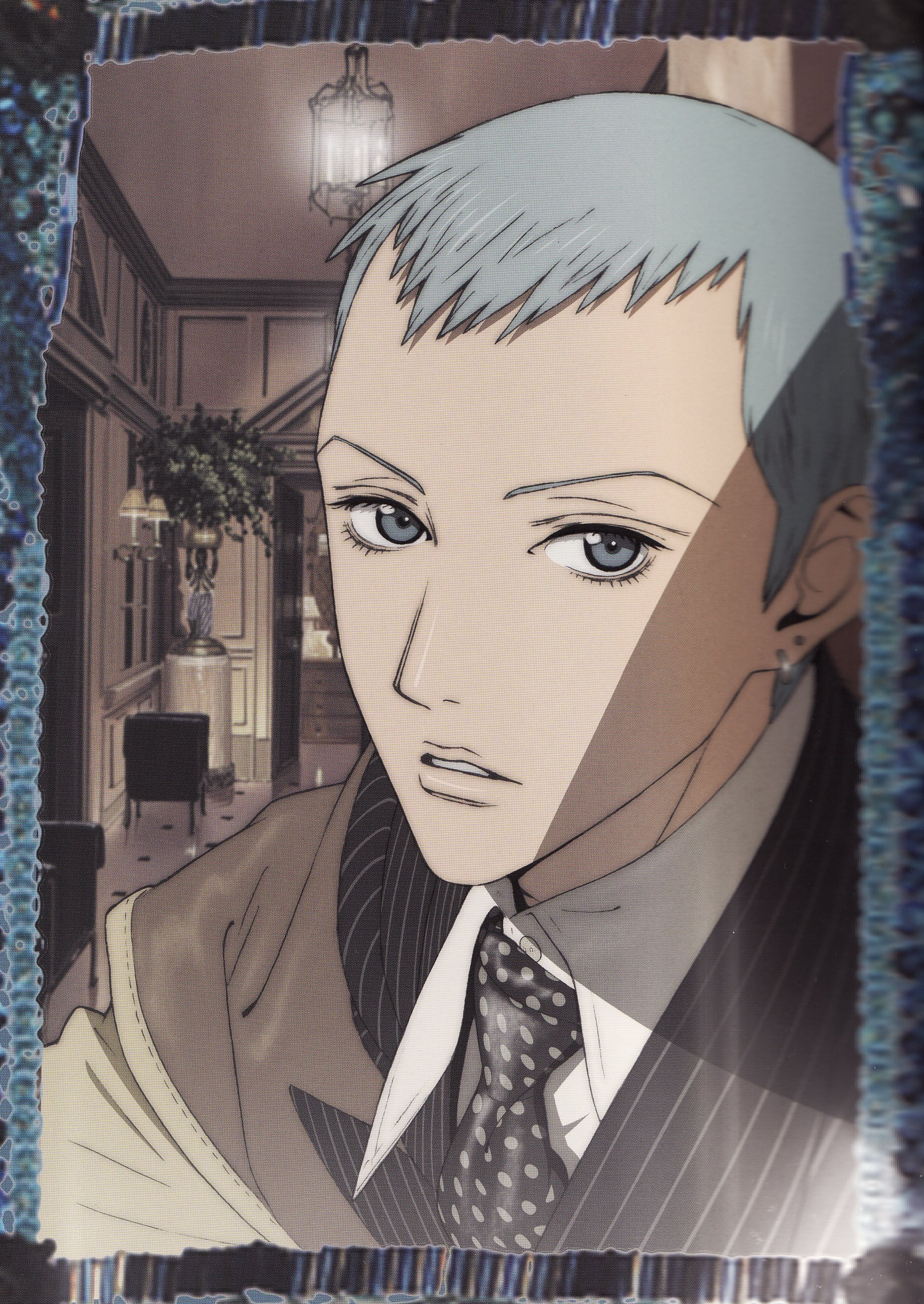 Koizumi George, Ai Yazawa, Blue Hair, Short Hair, Earrings, Jewelry, Male, Solo, Room, Tie, Looking At Camera, Paradise Kiss