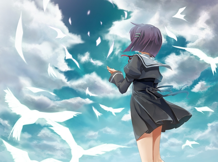 Chihiro Shindou, School Uniform, Female, Purple Hair, Short Hair, Birds, Clouds, Sky, Reach To The Sky, Ef - A Fairy Tale Of The Two