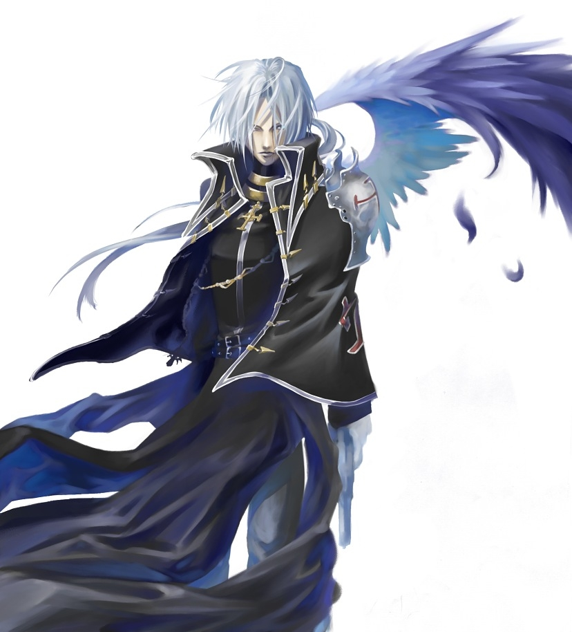 Pixiv Id 284575, Wings, Trinity Blood, Abel Nightroad, Blue Eyes, Feather, Glasses, Gray Hair, Gun, Male, Simple Background, Vampire, White Background, Fanart, Fanart From Pixiv, Pixiv