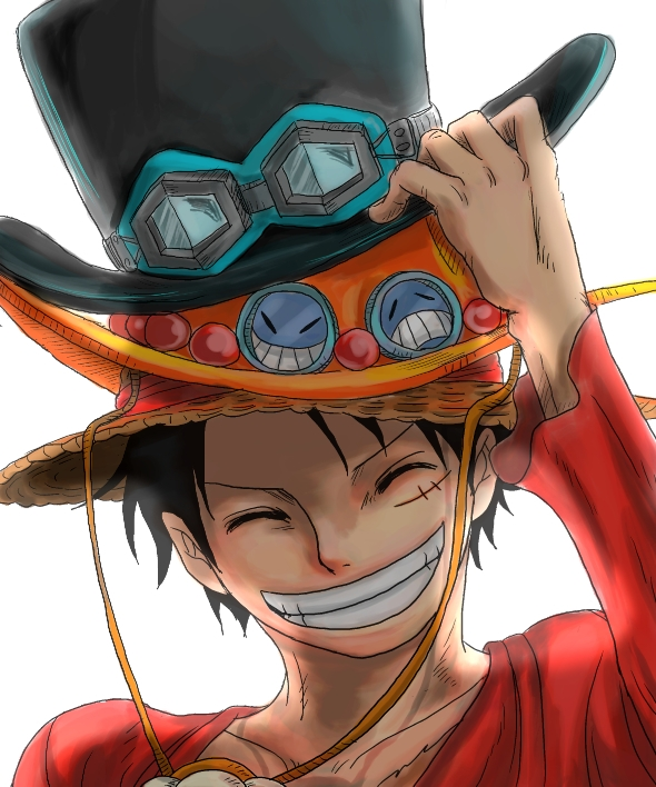 Pixiv Id 2453791, Sabo, Scar, Smile, The Eleven Supernovas Character Group, Straw Hat Pirates Character Group, Pixiv, One Piece: Two Years Late..., Fanart From Pixiv, Fanart, White Background, Straw Hat, Solo, Simple Background, Short Hair, Male, Hat, Grin, Goggles, Closed Eyes, Black Hair, Portgas D. Ace, Monkey D. Luffy, One Piece