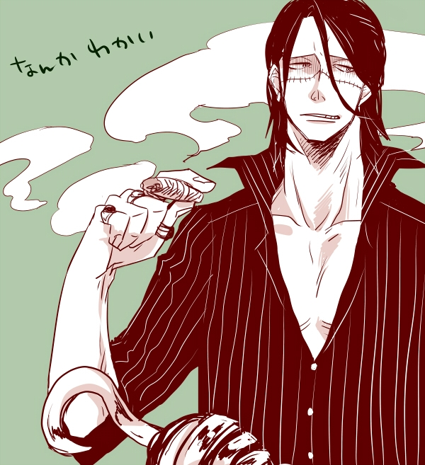 Pixiv Id 40640, Scar, Baroque Works Character Group, Pixiv, Fanart From Pixiv, Fanart, Spot Color, Solo, Smoking, Short Hair, Ring, Monochrome, Male, Jewelry, Hook (Hand), Cigar, Sir Crocodile, One Piece