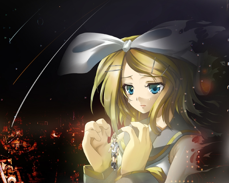 Kagamine Len, Kagamine Rin, Vocaloid, Kagamine Twins, Twins, Siblings, Sad, Male, Lipstick, Hair Clip, Hair Bow, Female, Crying, Bows (Fashion), Blonde Hair