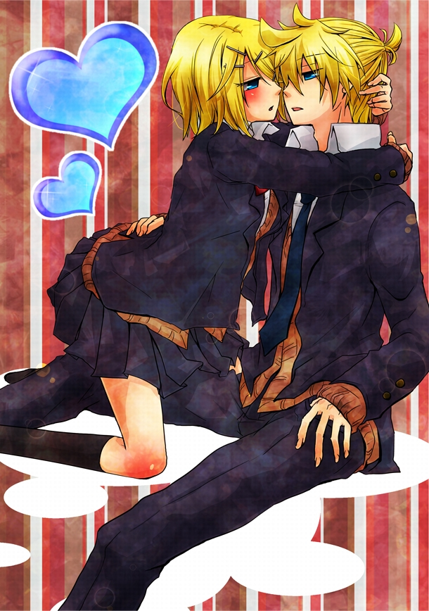 Kagamine Len, Kagamine Rin, Vocaloid, Kagamine Twins, Twins, Female, Male, Duo, Couple, Blush, Blue Eyes, Blonde Hair, Alternate Outfit
