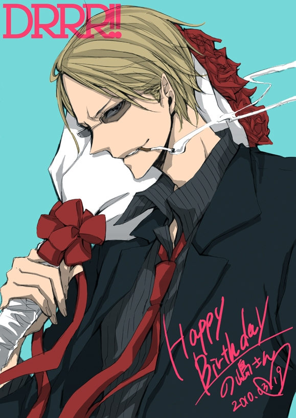 Flower, Shizuo Heiwajima, Durarara!!, Blonde Hair, Cigarette, Glasses, Gold Eyes, Male, Rose, Short Hair, Smoking, Solo