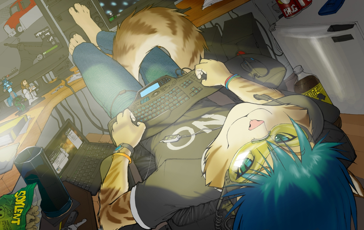 Kemonomimi, Male, Solo, Tail, Teal Hair, Video Games, Anthro, Aqua Eyes, Barefoot, Computer, Goggles