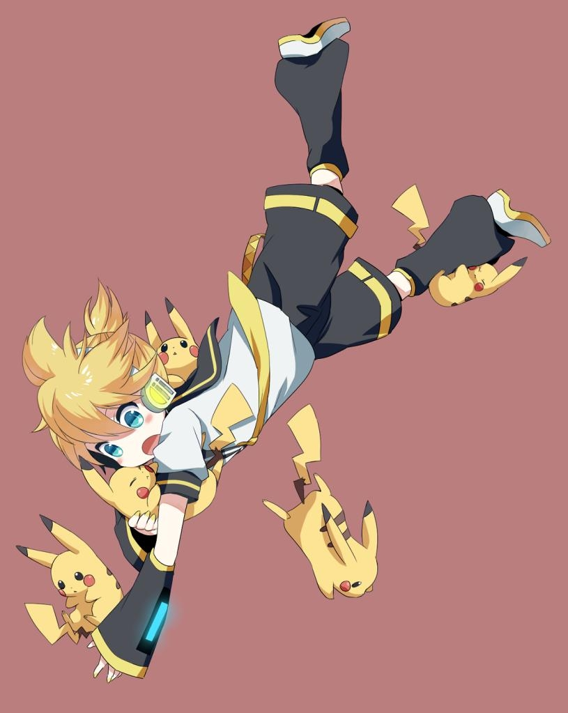 Kagamine Len, Pokémon, Vocaloid, Male, Cross-over, Blonde Hair, Short Hair, Pikachu