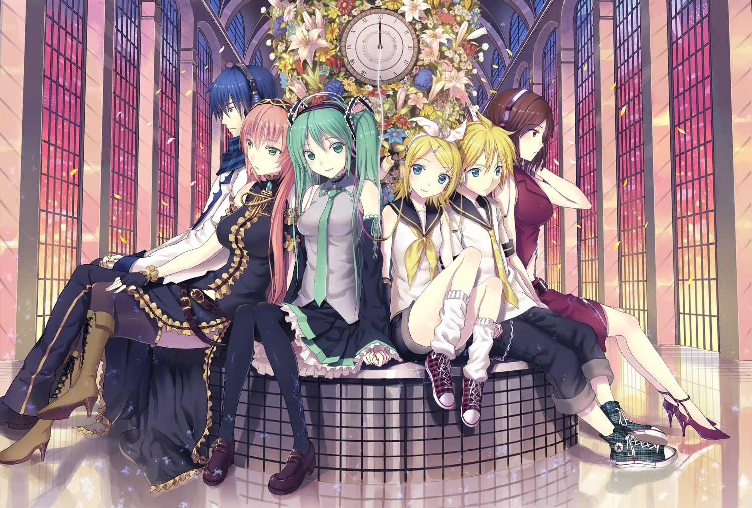 Flower, Kagamine Len, Kagamine Rin, Kichiroku, Luka Megurine, Meiko, Smile, Vocaloid, Window, Zettai Ryouiki, Skirt, Pixiv, Pink Hair, Shoes, Tie, Kagamine Twins, Sandals, Scarf, Short Hair, Sitting, Sneakers, Thigh Highs, Twin Tails, Twins, Blue Hair, Boots, Brown Hair, Male, Green Eyes, Petal, Black Thigh Highs, Circus, Female, Group, High Heels, Hatsune Miku, Kaito, Blonde Hair, Blue Eyes, Clock, Detached Sleeves, Frills, Headband, Headphones, Holding Hands, Long Hair