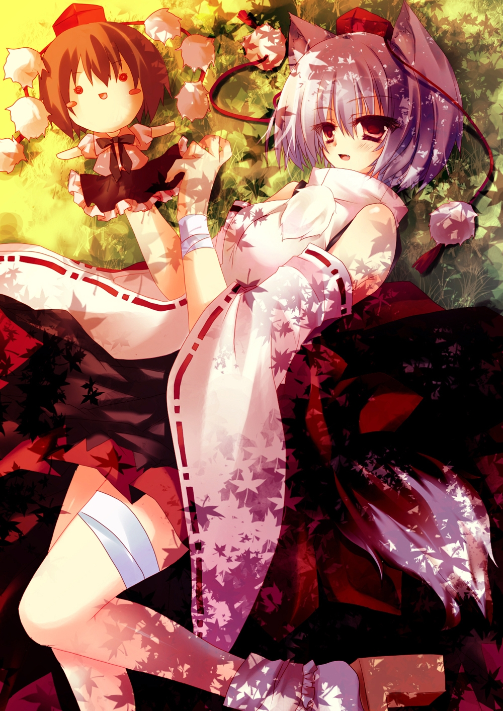 Inubashiri Momiji, Kiseri Momokoto, Shameimaru Aya, Touhou, Pixiv, White Socks, White Legwear, White Shirt, Fanart, Fanart From Pixiv, Maple Leaf, Okamimimi, Pom Pom (Clothes), Traditional Clothes, Field, Grass Field, Red Footwear, Short Hair, Two Girls, Female, Detached Sleeves, Black Hair, Frilled Skirt, Hat, Laying Down, Red Shirt, Shirt, Skirt, Sunbeam, White hair, Duo, Doll, Black Skirt, Black Ribbon, Albino, Zun, Frills, Grass, Japanese Clothes, Kemonomimi, Leaves, Long Sleeves, Ribbon, Shoes, Socks, Stuffed Character, Tail, Tokin Hat