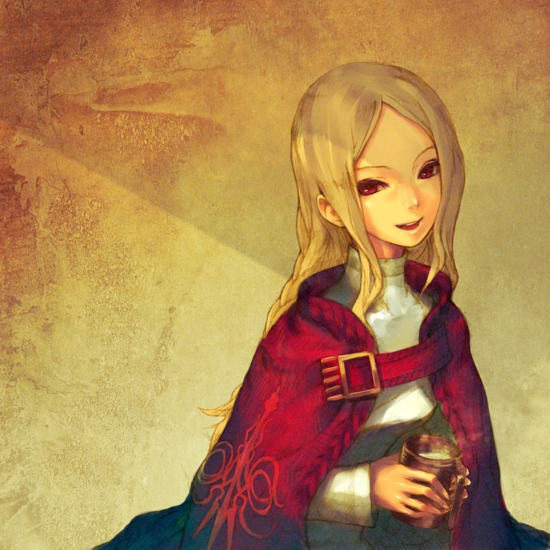 Happy, Ovelia Atkascha, Redjuice, Smile, Final Fantasy Tactics, Blonde Hair, Open Mouth, Braids, Female, Red Eyes, Pixiv, Cape, Cup, Long Hair, Solo