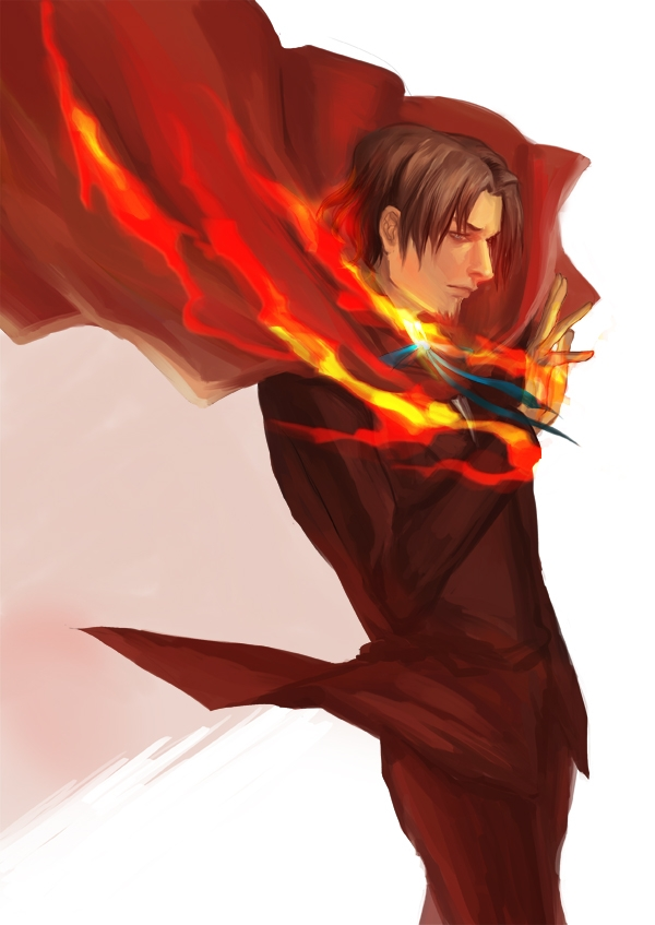Rondeau, Tohsaka Tokiomi, Type-moon, Suit, Fanart, Solo, Male, Goatee, Pixiv, Fanart From Pixiv, Side View, Short Hair, Fire, Fate/zero, Brown Hair