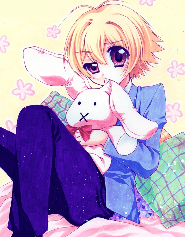 Ouran High School Host Cl..., School Uniform, Mitsukuni Haninozuka, stuffed toy, Stuffed Rabbit, Fanart, Solo, Short Hair, Male, Blonde Hair