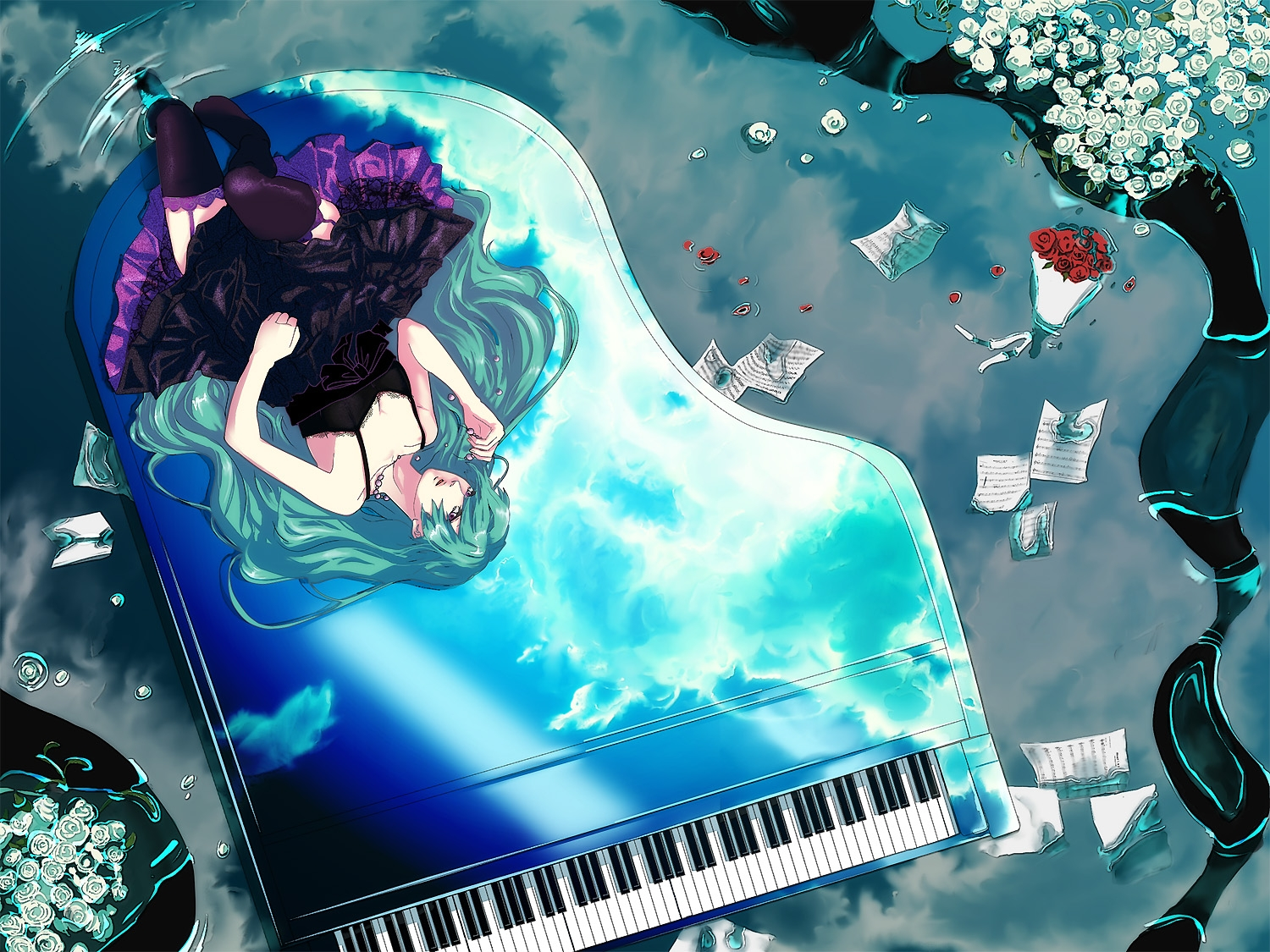 Flower, Vocaloid, Petal, Twin Tails, Pearls, White Flower, Tie, Sheet Music, Musical Instrument, Music, Pixiv, Zettai Ryouiki, Water, Thigh Highs, Solo, Rose, Piano, Paper, Necklace, Music Note, Long Hair, Frills, Laying Down, Black Outfit, Laces, Green Eyes, Clouds, Black Dress, Hatsune Miku, Ranmaru (Iro), Jewelry, Green Hair, Grand Piano, Garter Belt, Female, Dress, Bows (Fashion), Bouquet, Beads, Alternate Hairstyle