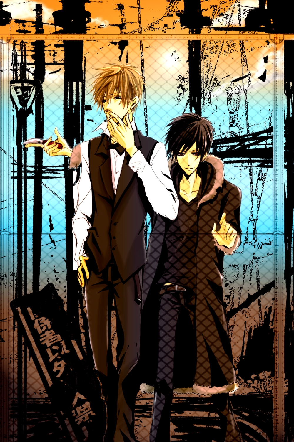 Shizuo Heiwajima, Izaya Orihara, Blonde Hair, Male, Short Hair, Durarara!!, Black Hair