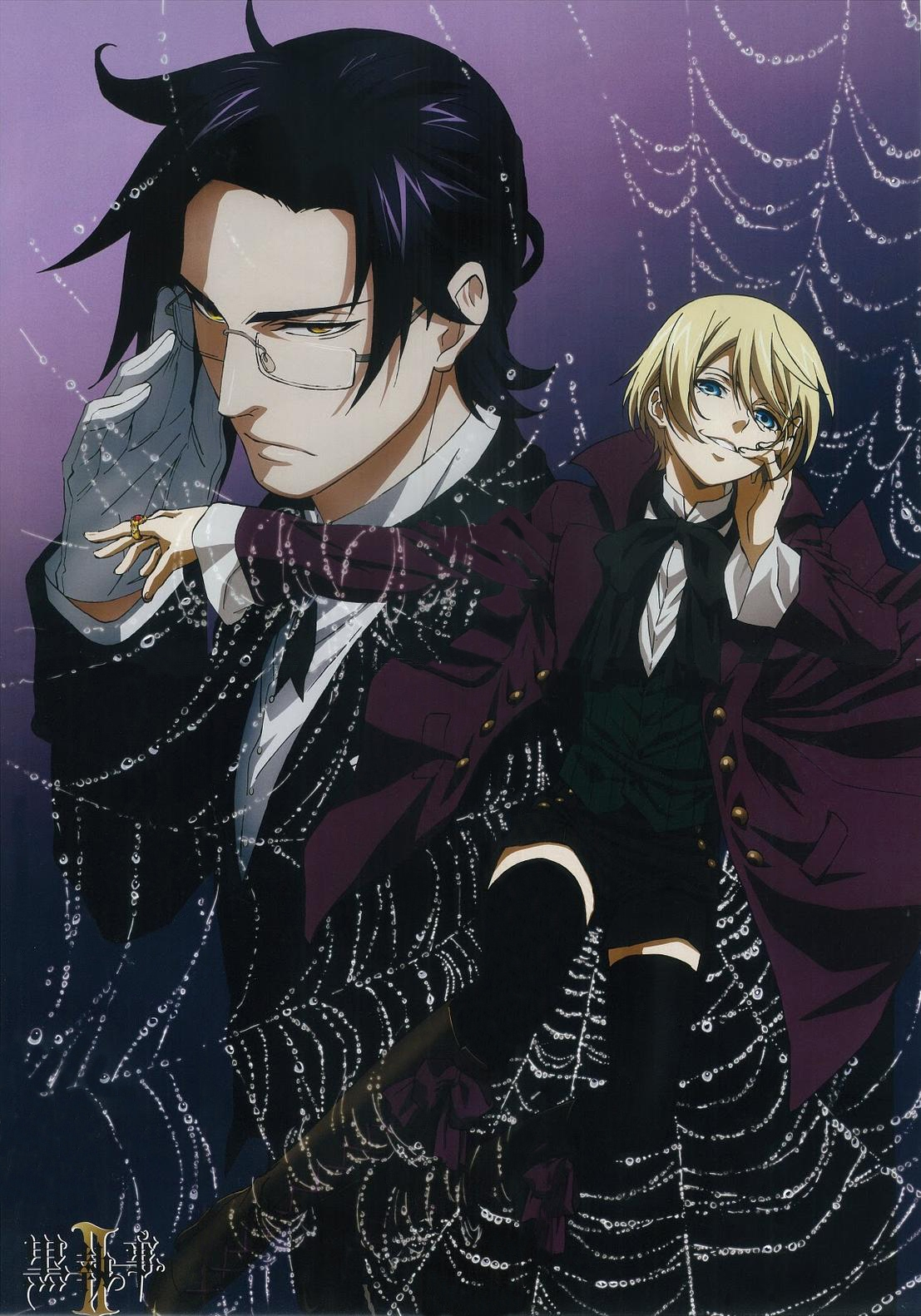 Gloves, Black Thigh Highs, Short Hair, Black Hair, Ring, Duo, Claude Faustus, Two Males, Male, Gold Eyes, Demon, Boots, Alois Trancy, Tie, Thigh Highs, Suit, Spider Web, Jewelry, Grin, Glasses, Bows (Fashion), Bow Tie, Blue Eyes, Blonde Hair, Kuroshitsuji