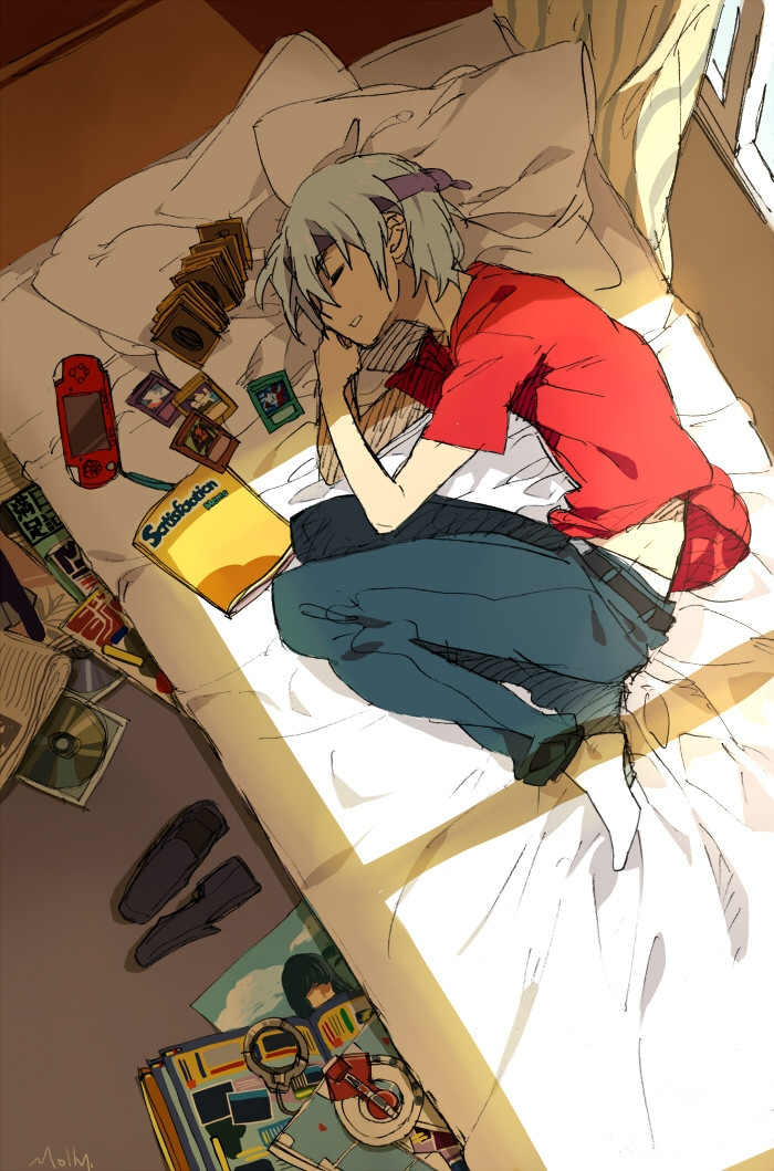 Yu-Gi-Oh 5Ds, Solo, Suou, Video Games, Yu-Gi-Oh!, Card (object), White hair, Bedroom, Closed Eyes, PSP, Dark Signers, Kiryu Kyosuke, Bed, Belt, Book, Gray Hair, Male, Short Hair, Sleeping