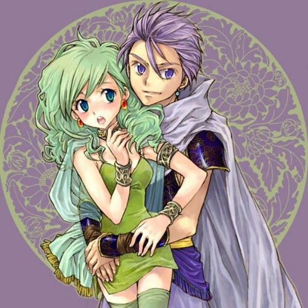 Edward Geraldine, Rydia Of Mist, Final Fantasy IV, White hair, Duo, Green Hair, Female, Male, Summoner