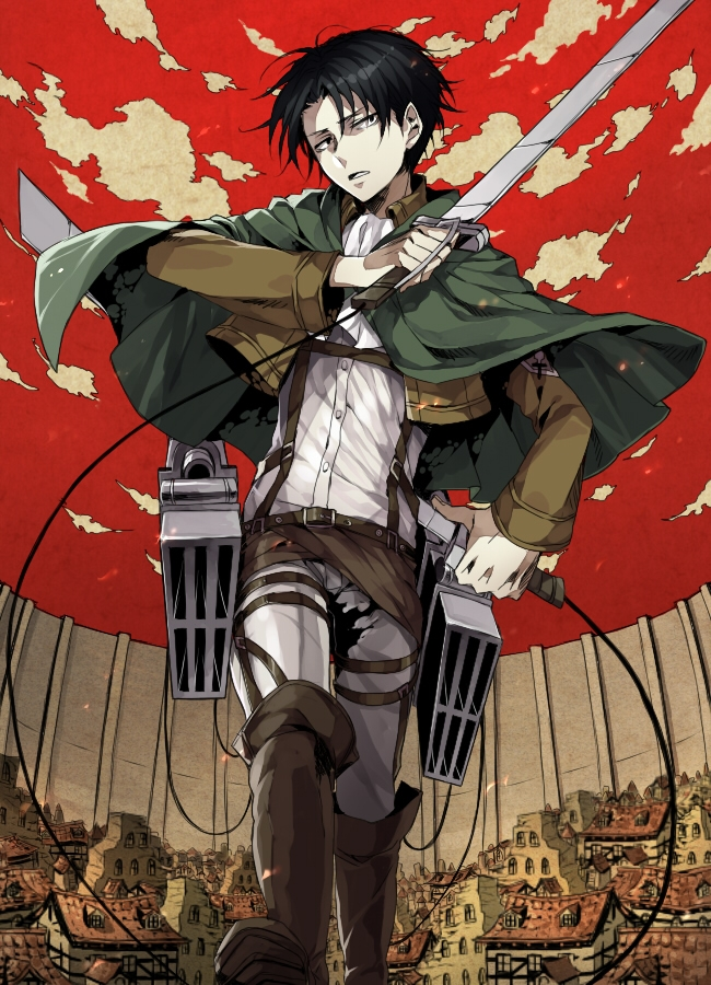 Daburyuu, Uniform, Looking At Camera, Sword, Serious, Jacket, Black Eyes, Fanart From Pixiv, Standing, Short Hair, Red Sky, Open Clothes, Holding Weapon, Cape, Belt, Shingeki no Kyojin, Pixiv, Fanart, Weapons, Solo, Sky, Shirt, Pants, Open Jacket, Multiple Belts, Male, Clouds, City, Boots, Black Hair, Levi Ackerman