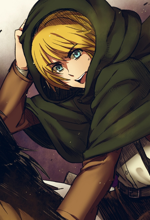Medium Hair, Horse, Cape, Mir (Pixiv1170623), Solo, Male, Blue Eyes, Blonde Hair, Shingeki no Kyojin, Armin Arlelt