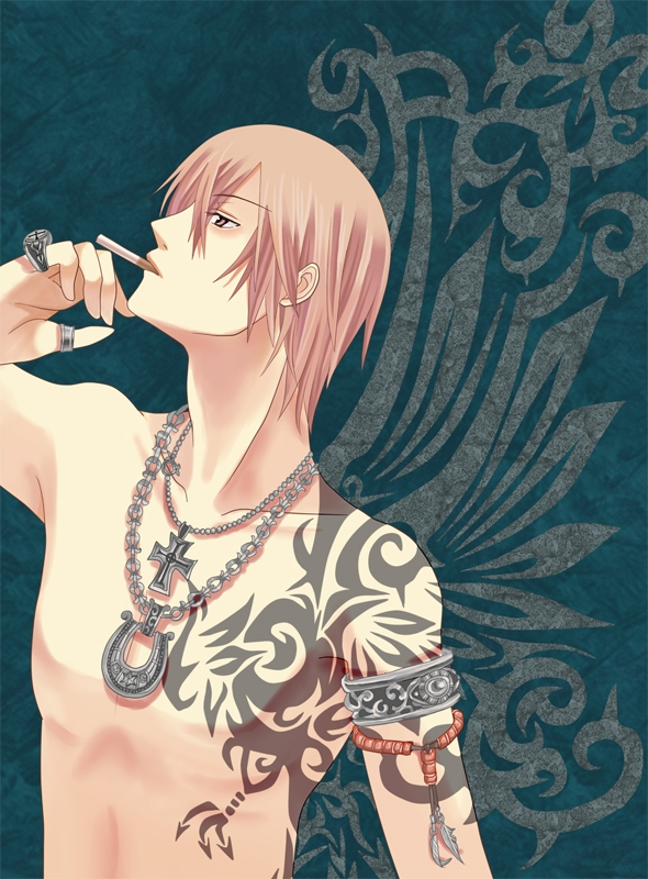 Akiyama Shinichi, Uzuragushi, Wings, Fanart, Solo, Tattoo, Pixiv, Liar Game, Pink Hair, Armband, Faux Wings, Ring, Chain, Cross Necklace, Gold Eyes, Male, Shirtless (male), Cigarette, Cross, Face Up, Jewelry, Mouth Hold, Necklace, Short Hair, Smoking