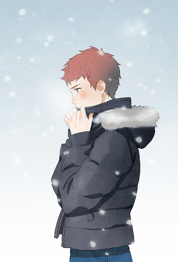 Emiya Shirou, Type-moon, Jacket, Male, Orange Hair, Snow, Fate/stay night, Blush, Brown Eyes, Serious, Short Hair, Solo, Tam (artist)
