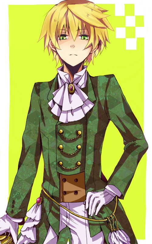 Maimai Yuki, Gloves, Oz Vessalius, Oz Bezarius, Fanart, Pixiv, Short Hair, Simple Background, Victorian Clothes, Solo, Pandora Hearts, Looking Down, Ascot, Feather, Blonde Hair, Green Eyes, Male