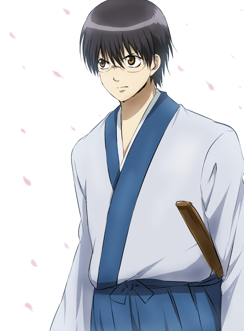 Flower, Punchiki, Sword, Short Hair, Fanart, Fanart From Pixiv, Weapons, White Background, Pixiv, Simple Background, Shimura Shinpachi, Black Hair, Glasses, Male, Gintama, Cherry Blossom