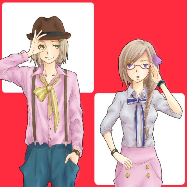 Axis Powers: Hetalia, Happy, Kattsu, Monaco, Smile, Studio Deen, Open Mouth, Flag Background, Pixiv, Green Eyes, Ribbon, Flag, Couple, Glasses, Duo, Male, Hat, Long Hair, Female, Fanart, Blonde Hair, Bows (Fashion), Brown Hair, Braids, Country Flag, Poland