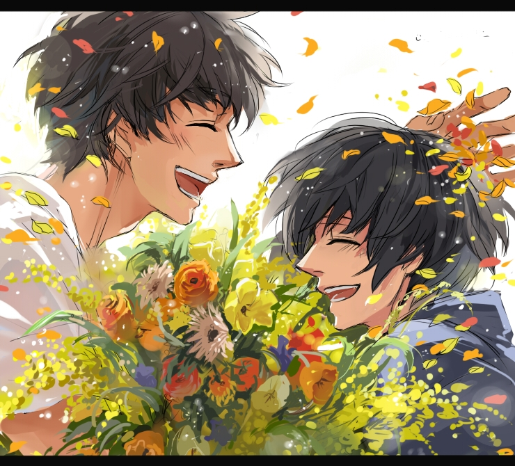 Axis Powers: Hetalia, Flower, Japan, Pixiv Id 531724, Smile, Spain, Studio Deen, Asian Countries, Male, Mediterranean Countries, Short Hair, Open Mouth, Axis Power Countries, Black Hair, Closed Eyes, Duo, Brown Hair