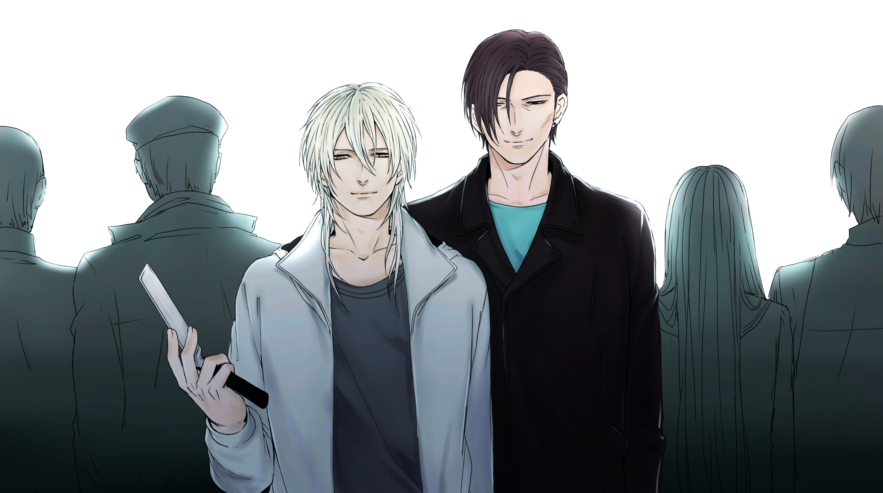 Makishima Shougo, White Background, White hair, Psycho-Pass