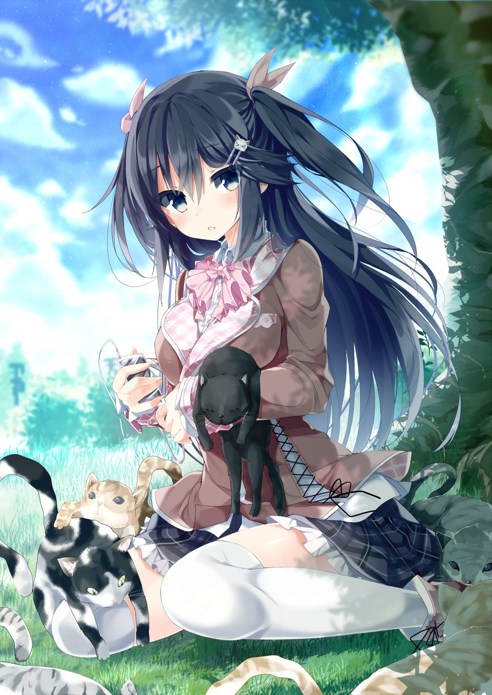 Neko, Cat, Black Hair, Blank Expression, Illustration, Black Eyes