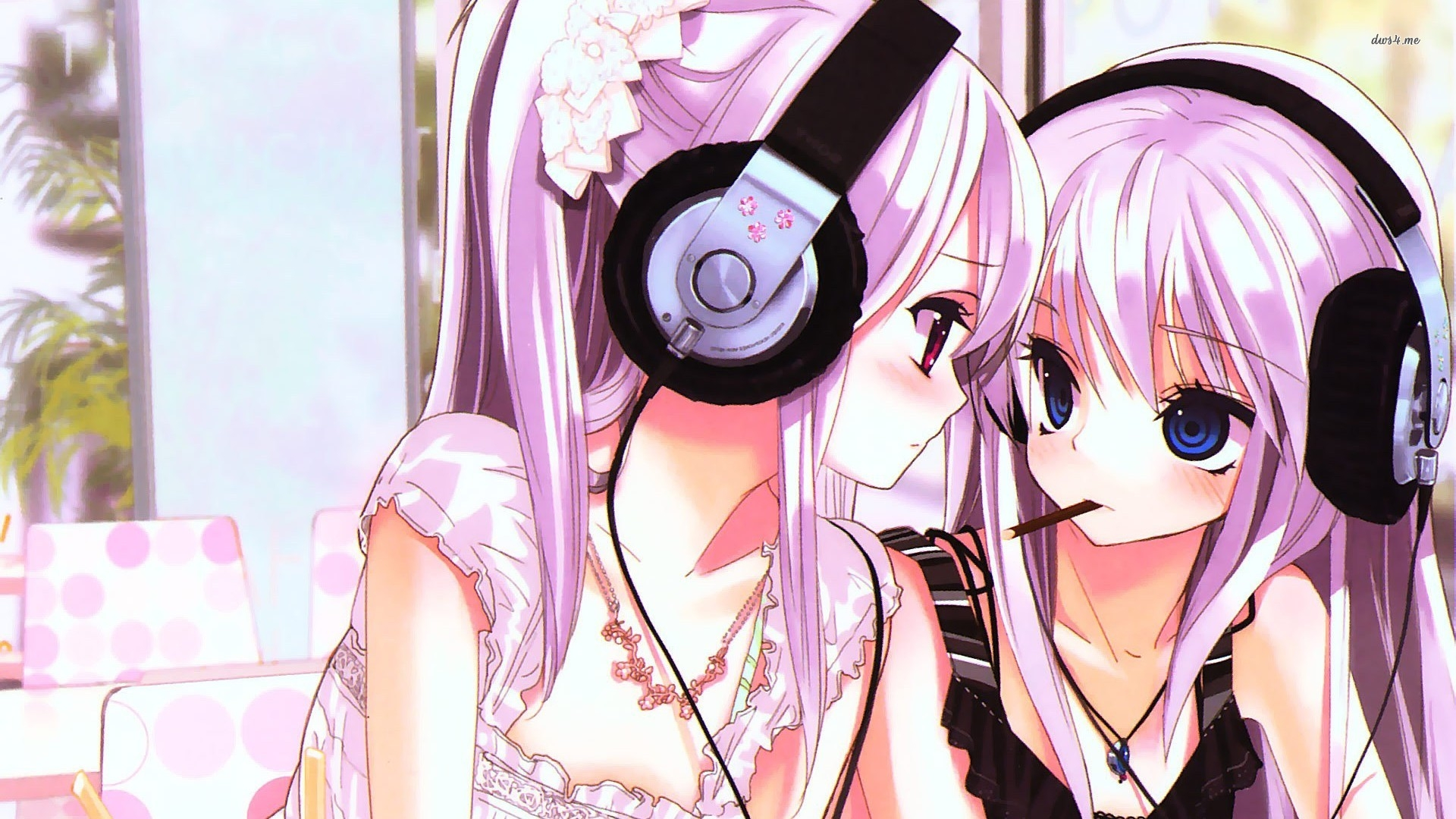Best Friend, Cute, Headphones, Pink Hair