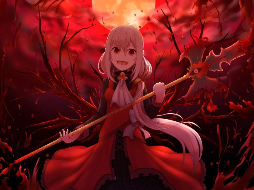 Blood, Fangs, Full Moon, Long Hair, Moon, Open Mouth, Original, Red Eyes, Solo, Vampire, Weapon, White hair